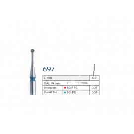 801 FG Wiertło diamentowe na turbinę IQDENT Premium kulka długa niebieska